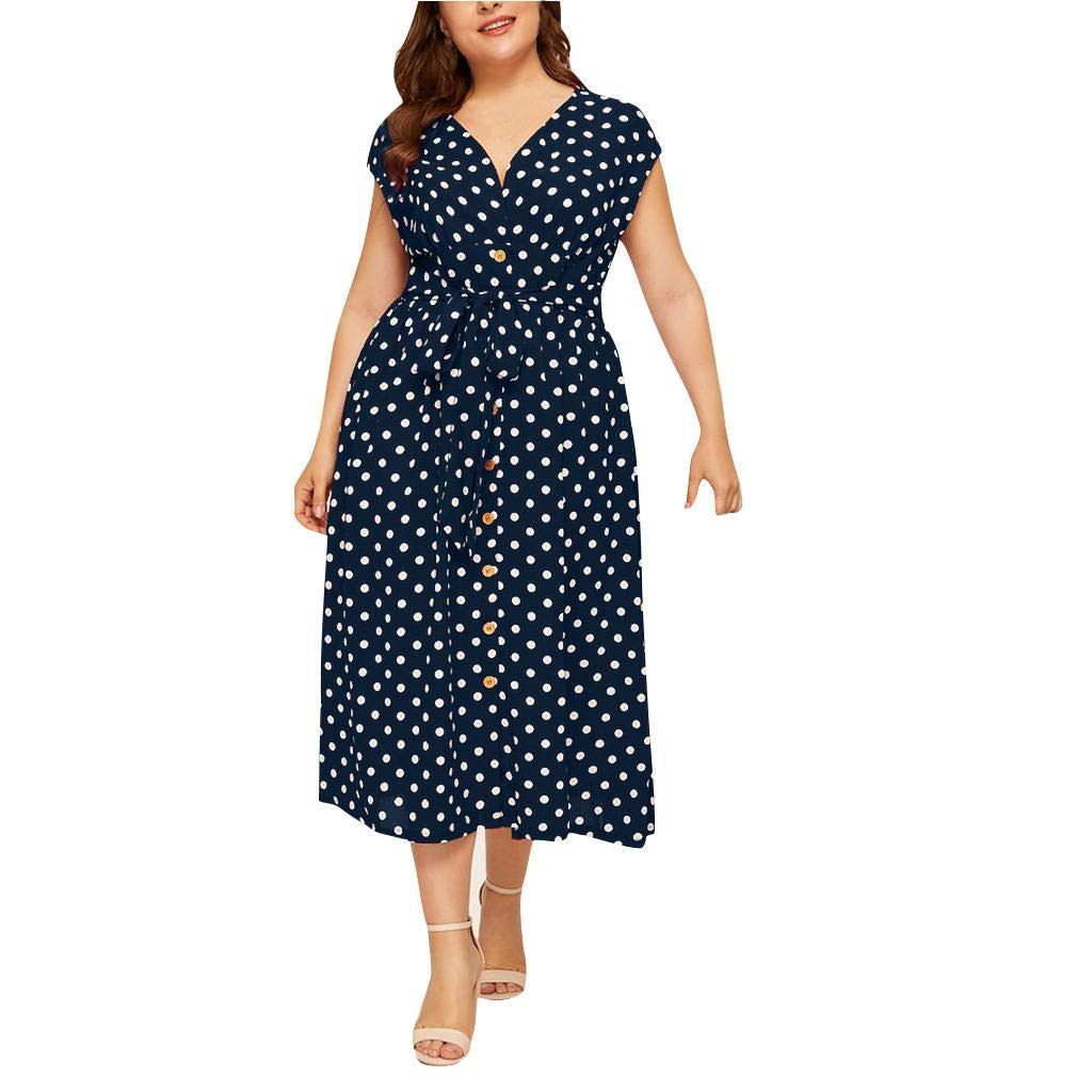 Sunmoot Clearance Sale Womens Plus Size Polka Dot Dress,Ladies Casual Summer V-Neck Sleeveless Printed Button Belt Dresses Navy by Sunmoot Clearance Sale