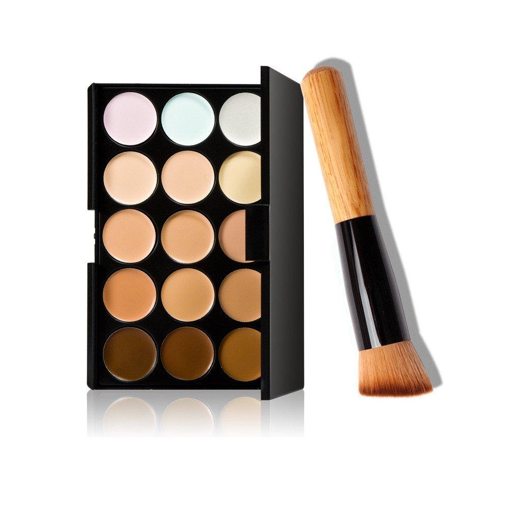 BingYELH 15 Colors Makeup Concealer Contour Palette + Makeup Brush Foundation Blush Cosmetic Concealer Brushes (15 colors)