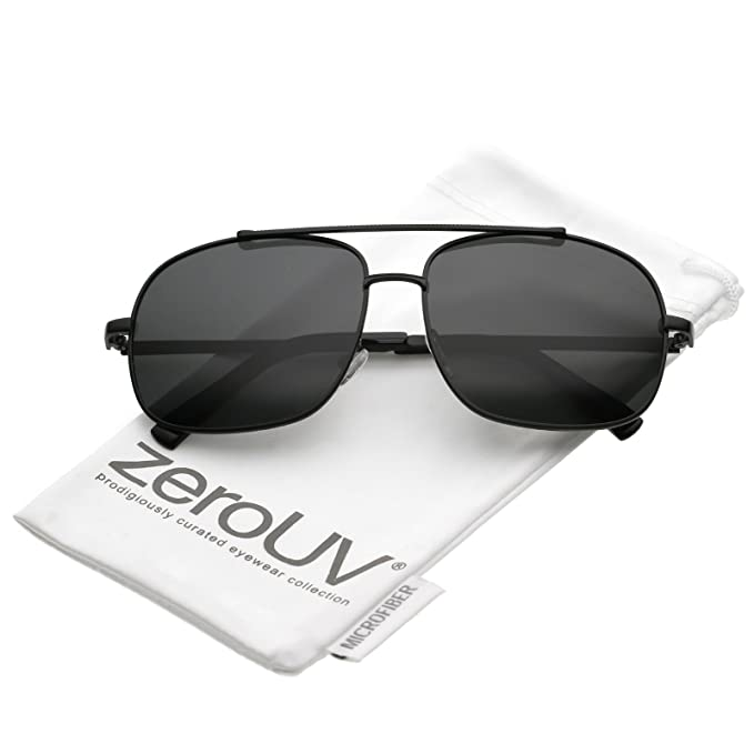 zeroUV - Classic Metal Straight Crossbar Polarized Square Lens Aviator  Sunglasses 58mm (Black Smoke 4715fdf107