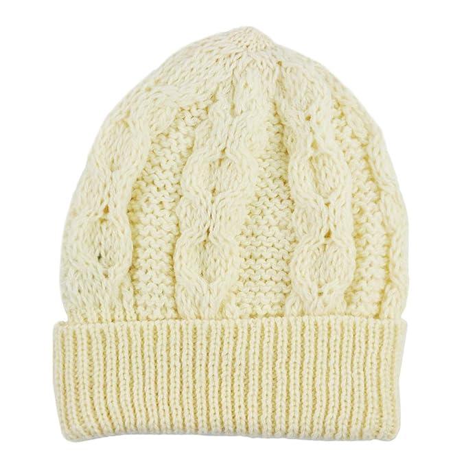 a1f462903 Aran Crafts Merino Wool Knit Hat, Natural