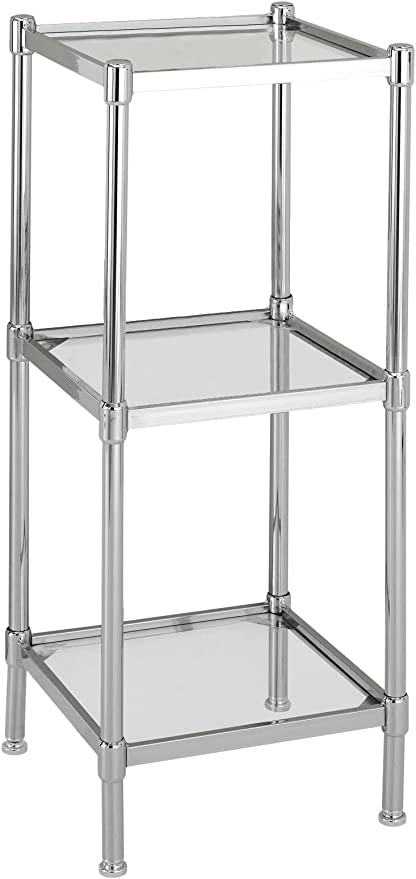 Amazon Com Organize It All 3 Tier Tempered Glass Freestanding Bathroom Storage Tower Home Kitchen