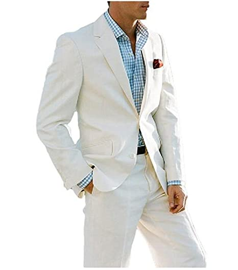 Tsbridal Summer Beach Wedding Suits 2 Pieces Men Suits Groom Tuxedos