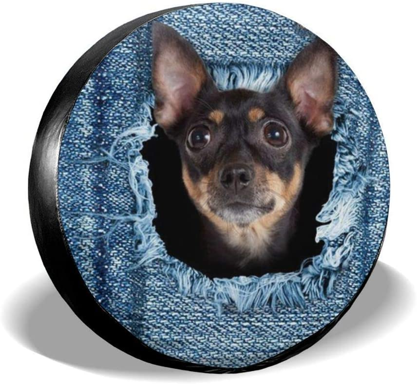 Not Applicable Cubiertas de Las Ruedas, Denim Cute Dog Slick Garage Wheel Tyre Protectors, 80-83cm
