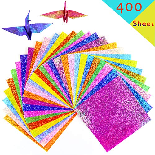 UPlama 400 Sheets 10CM Shiny Rainbow Origami Paper, Square Origami Paper, Decoration Paper, Glitter Square Folding Paper for DIY Crafts