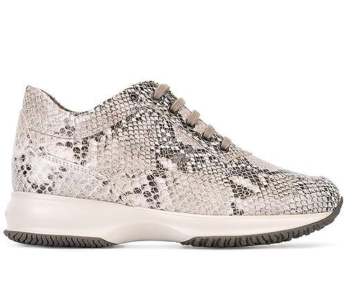 Hogan - Zapatillas de Piel para Mujer Beige Beige Beige Size: 38.5 EU - 5.5 UK: Amazon.es: Zapatos y complementos
