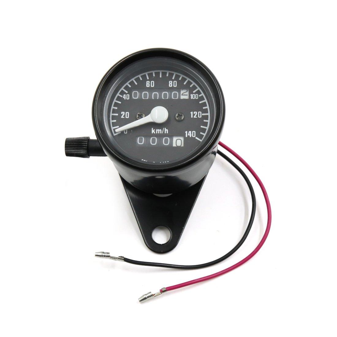 uxcell Universal Black Metal Dual Gauge Motorcycle Odometer Speedometer Meter km/h