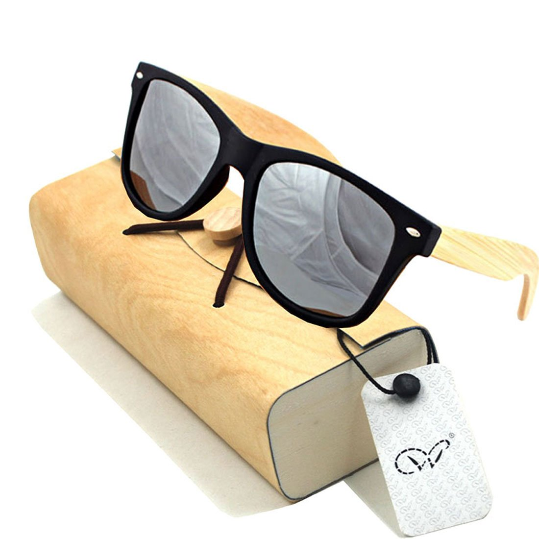 Amazon.com: Plastic Bamboo Arms Sunglasses Yellow Polarized Lenses Black Men Women Sunglasses (Black, Slivery): Clothing
