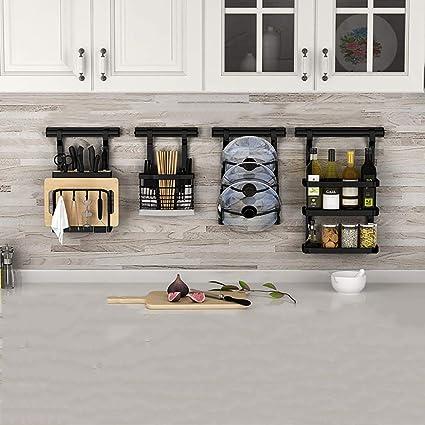 Amazon Com Zzhf Yushizhiwujia Kitchen Shelves Wall Mounted Punch