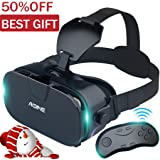 VR headset with Bluetooth Remote Controller AOINE F3 Virtual Reality Headset / Gamepad for Large Viewing Immersive Experience VR Goggles 3D Movies / Games in Smartphones with 4.7-6.2 inch Screen