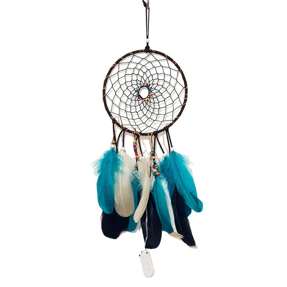 GELIS Led Dream Catcher Lights up,Native Lndian Dreamcatchers Wall Hanging Ornaments for Bedroom,with Feathers and 20Led Lighting,Caught Your Dream  (Dark Green)