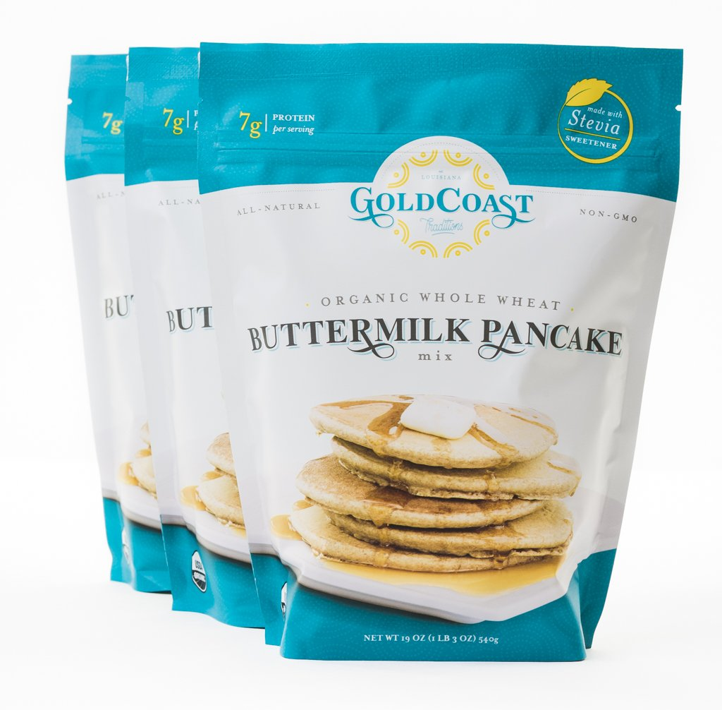 Gold Coast Traditions Organic Whole Wheat Buttermilk Pancake Mix, 19 Ounce Bags (Pack of 3)