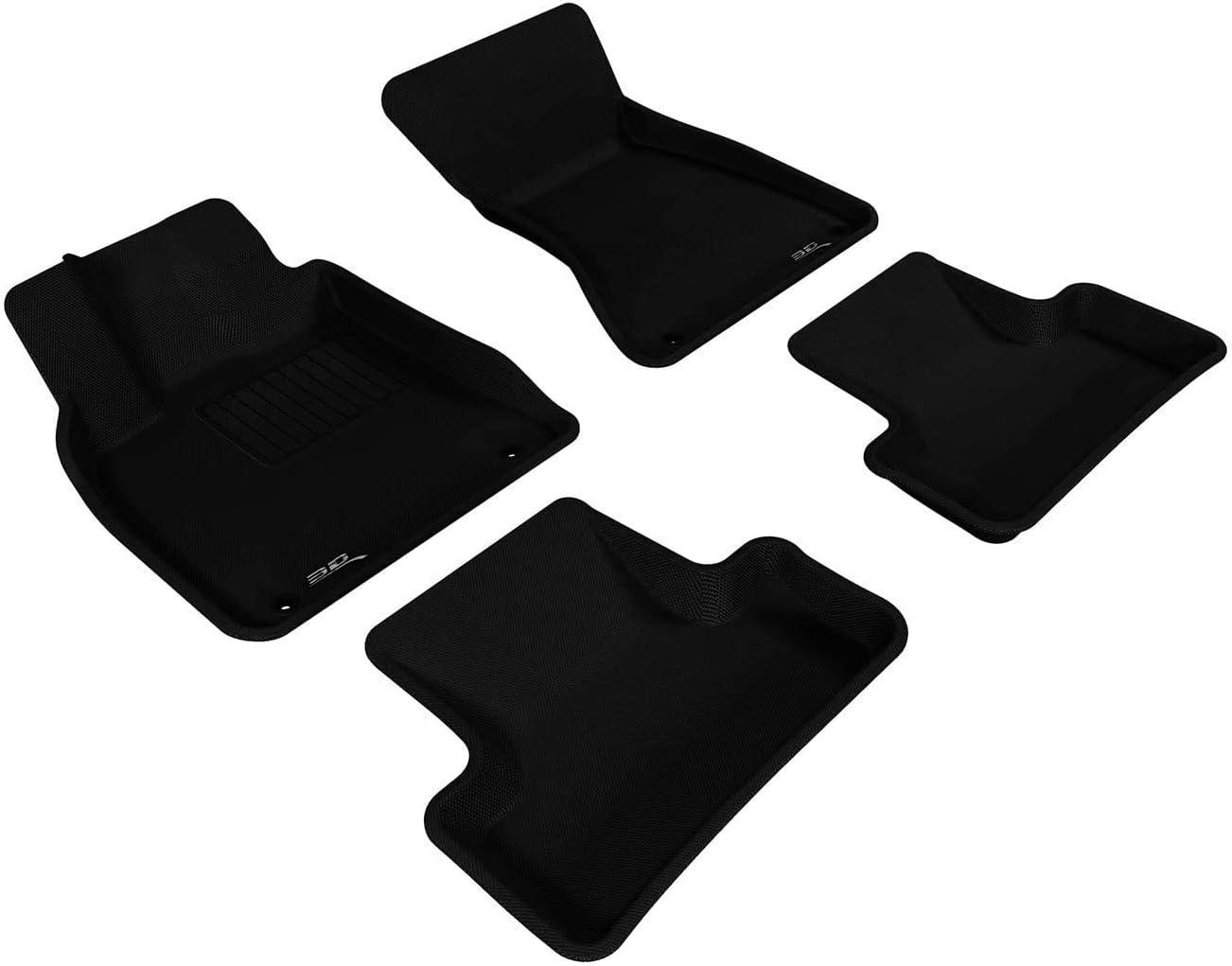 L1FA00521509 Second Row Custom Fit All-Weather Floor Mat for Select Fiat 500X Models Black 3D MAXpider Kagu Rubber