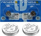 2 x Renata Wrist Watch battery - Swiss Made - Batteries Cells Silver Oxide 0% Mercury Free Button Cell 1.55v Renata Long Life Batteries (364 (SR621SW))