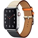 RUOQINI Compatible with Apple Watch Band 44MM 40MM 42MM 38MM,Luxury Retro Genuine Leather Strap Replacement Band Compatible Apple Watch Series 4 Series 3 Series 2 Series 1