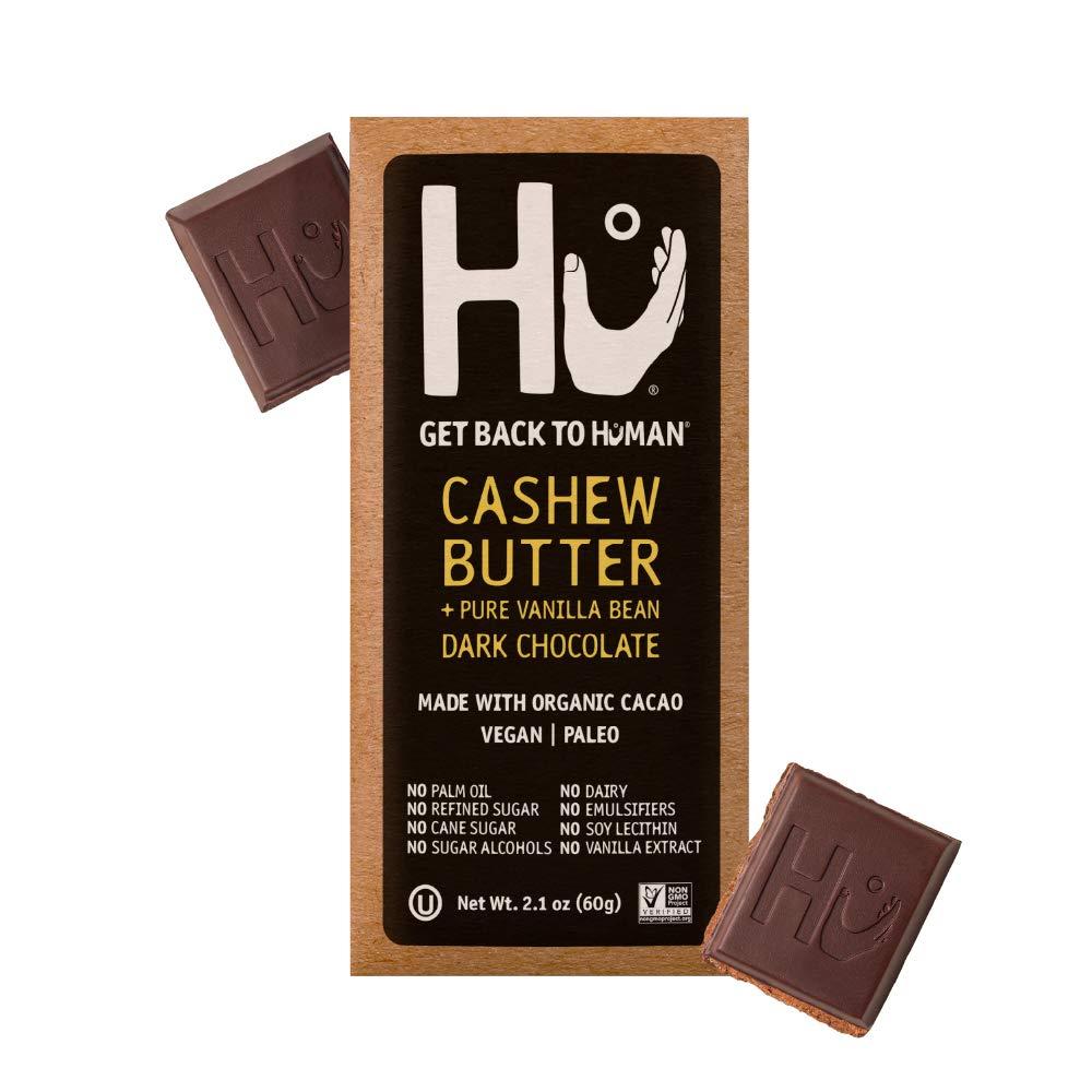Hu Chocolate Bars | 12 Pack Cashew Butter Vanilla Bean Chocolate | Natural Organic Vegan, Gluten Free, Paleo, Non GMO, Fair Trade Dark Chocolate | 2.1oz Each