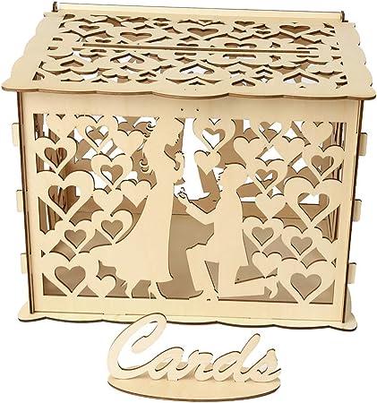 Amosfun Dibujo Pareja Madera Caja de Tarjeta de Boda Bricolaje Retro Caja de Dinero con Cerradura Hucha de Boda Accesorio Decorativo para Boda Rústica (Tamaño L): Amazon.es: Hogar
