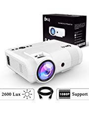 DR.Q L8 Projector, Upgraded 2600 Lux Video Projector, Mini Projector Supports 1080P HD and 170 Inch, 50000 Hours Lamp Life, Supports HDMI VGA VA USB TF, Home Theater Projector, White.