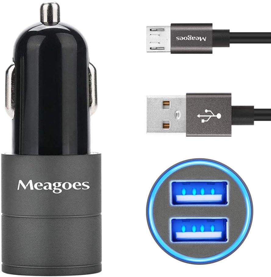 Dual LED Car Adapter with Micro Cable Compatible for Samsung Galaxy J7 V//J7 Prime//J7 Sky pro//J7 Perx//J3 V//J3 Emerge//J3 Eclipse//J3 Luna pro//J3 Prime//J5 Prime//pro//A7//A6+ Meagoes Micro USB Car Charger