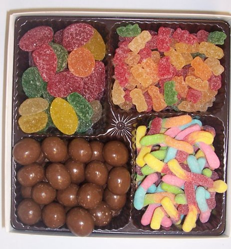 Scott's Cakes Large 4-Pack Chocolate Malt Balls, Sour Gummie Bears, Sour Inch Worms, & Pectin Fruit Gels by Scott's Cakes (Image #1)