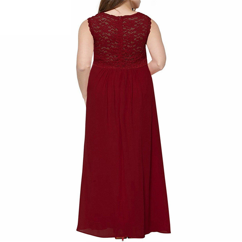 Crissiste Dresses Women V-Neck Chiffon Lace Patchwork Party Dress Plus Size Sleeveless Vintage Long Maxi Dress Black 9XL