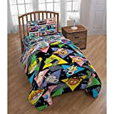LO 1 Piece Kids Black Rugrats The Movie Themed Comforter Twin Set, Fun Nickelodeon 90s TV Show Geometric Triangle Bedding, Chuckie Angelica Lillian Susie Pet Character Pattern, Yellow Blue Pink Green