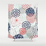 Pink and Navy Shower Curtain Weeya Floral Print - Coral Pink, Pale Aqua Blue, Gray, Navy Shower Curtain 60x72 inch