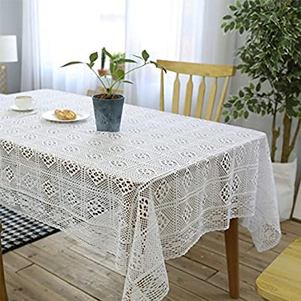 Amazon tanqiang cotton knitting tablecloth white crochet hollow tanqiang cotton knitting tablecloth white crochet hollow stitching table covers home party wedding table decoration junglespirit Images