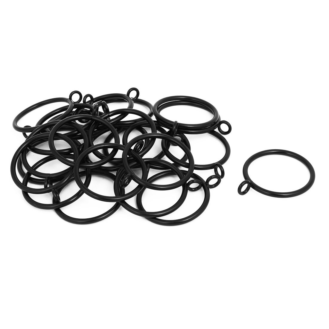 uxcell 45mm Dia 63mm Length Metal Curtain Drape Sliding Eyelet Rings Black 24pcs a16121300ux0022