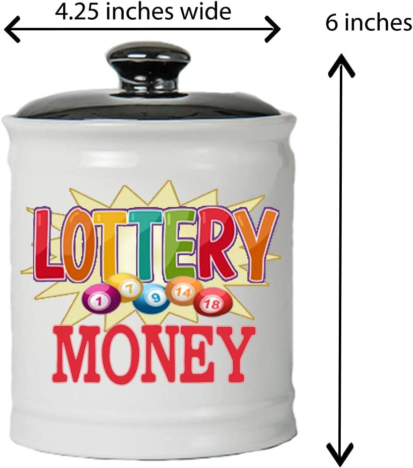 Lottery Piggy Bank with Black Lid Lottery Money Coin Jar White Cottage Creek Piggy Bank Round Ceramic Novelty Lottery Bank