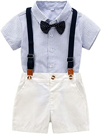 LGLE Ropa de verano para bebé niño con lazo, camisa de manga ...
