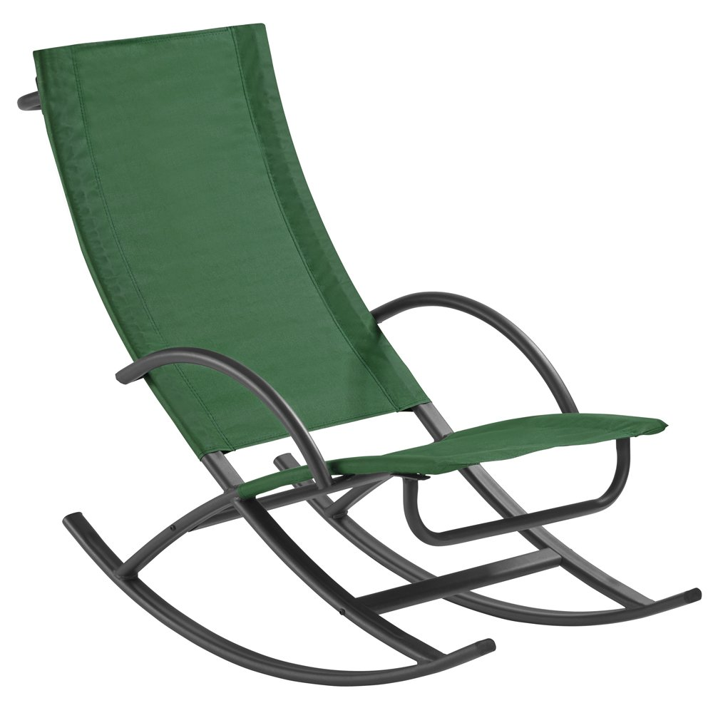 Clifford James Textoline Rocking Sun Lounger Chair, Relaxing Outdoor Furniture for Garden, Deck and Patio (Green)