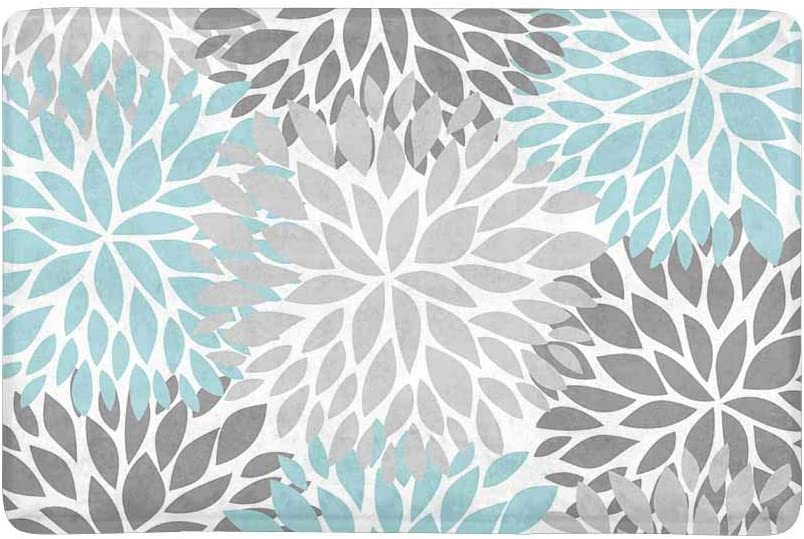 INTERESTPRINT Dahlia Pinnata Flower Light Blue and Gradient Gray Doormat Anti-Slip Entrance Mat Floor Rug Indoor Outdoor Door Mats Home Decor, Rubber Backing Large 30 L x 18 W