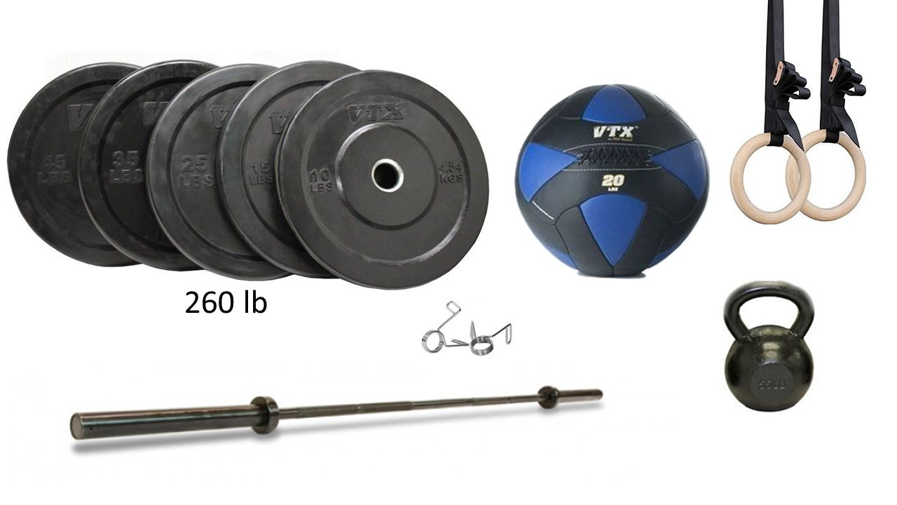 Amazon home garage gym package set troy vtx bar and bumper