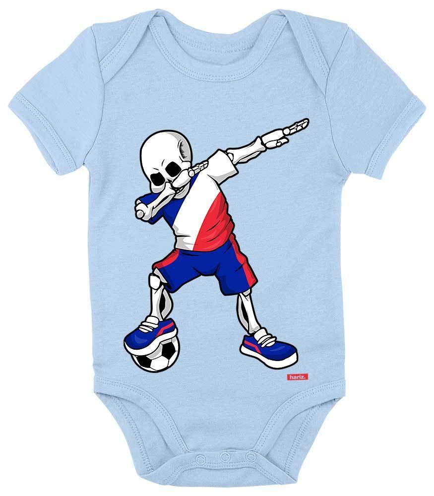 Hariz Maillot de football /à manches courtes pour b/éb/é Motif squelette de France