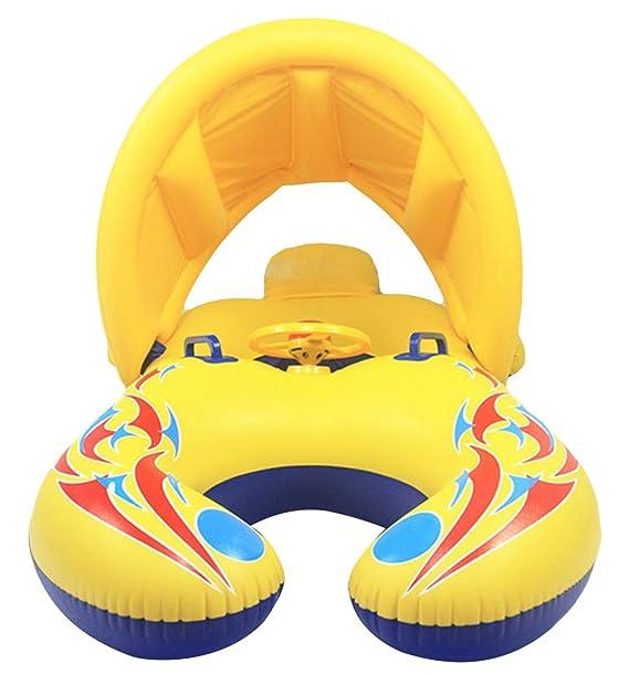 V-SOL Flotador para Bebé Padres Anillo Natación Sombrilla Inflable 110×65CM Amarillo: Amazon.es: Juguetes y juegos