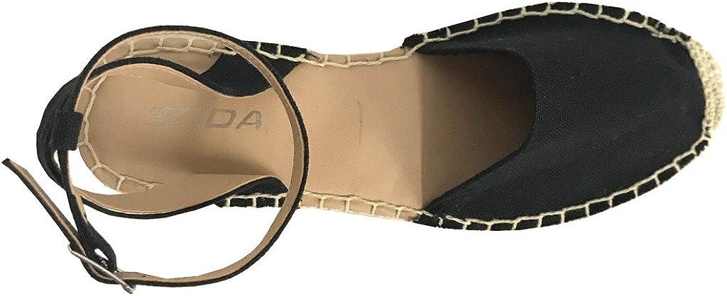 SODA Fiesta Womens Espadrilles Ankle Strap Braided Platform Sandals