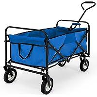 Deuba Bollerwagen | Faltbar | bis 100 kg | Rot Blau | Leichter Aufbau | Handwagen Transportkarre Gerätewagen