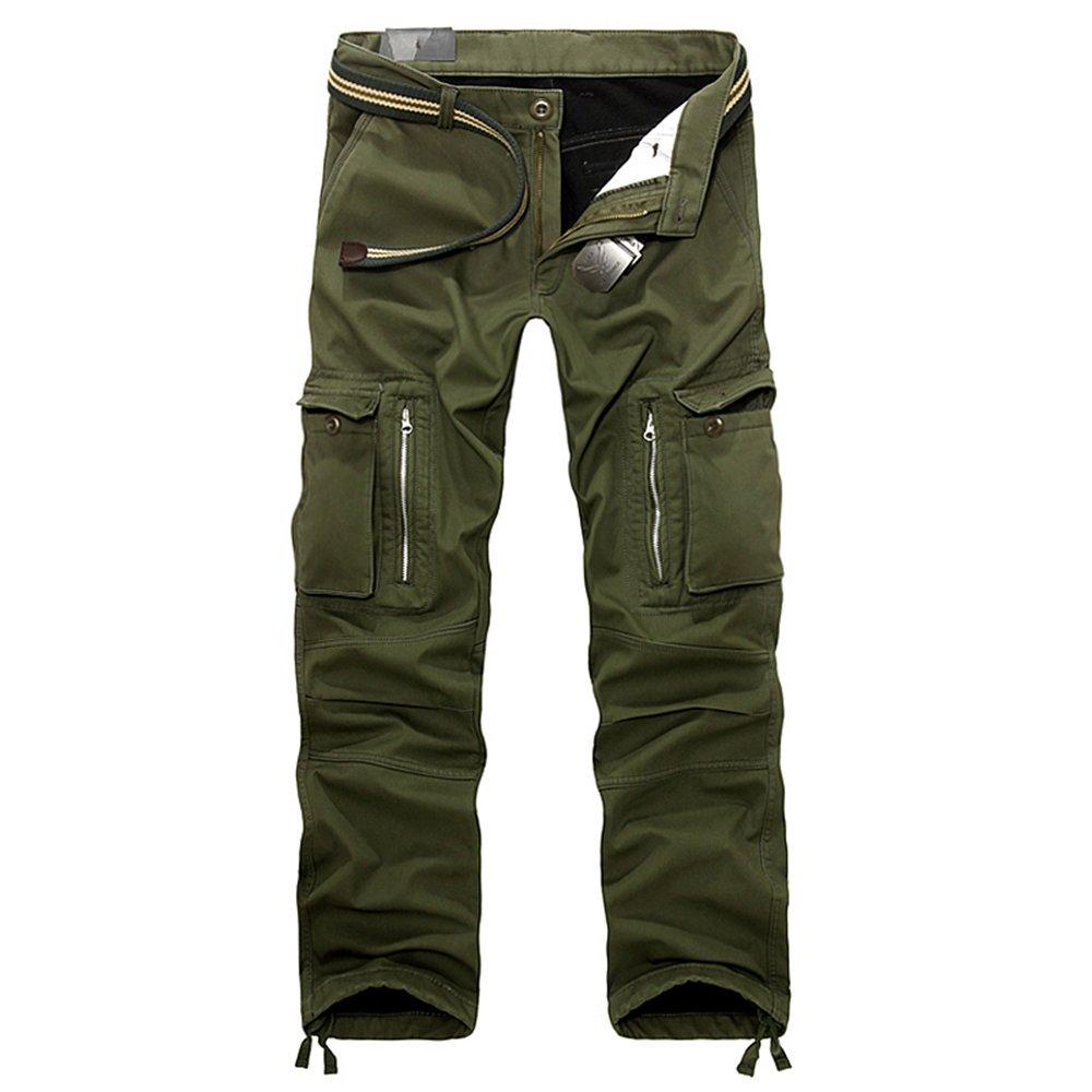 HerZii Men's Winter Fleece Lined Camouflage Cargo Trousers Combat Warm Cotton Casual Pants
