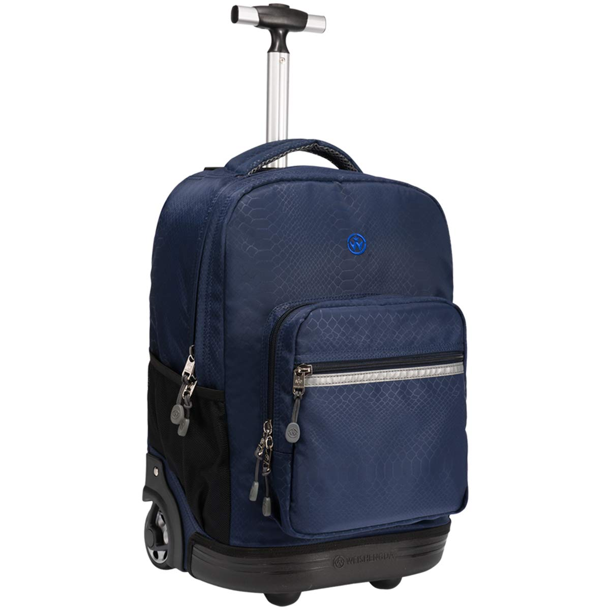 WEISHENGDA 18 inches Wheeled Rolling Backpack for Boys and Girls School Student Books Laptop Travel Trolley Bag, Dark Blue by WEISHENGDA