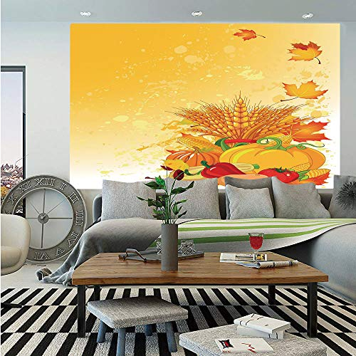 (SoSung Harvest Wall Mural,Vivid Festive Collection of Vegetables Plump Pumpkins Wheat Fall Leaves Decorative,Self-Adhesive Large Wallpaper for Home Decor 83x120 inches,Earth Yellow Green Red)