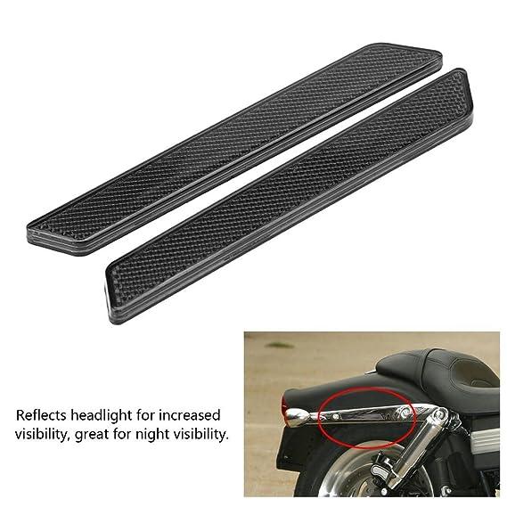 Silber 2pcs Hard Satteltasche Motorrad Latch Cover Reflektoren f/ür Harley