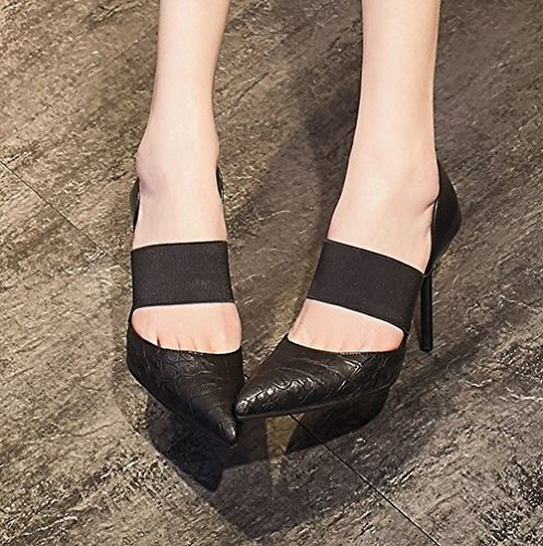 Tooth Sandals Carolbar Stilettos Hounds Black Pointed Party Womens Sexy Toe Eveing qUwPa