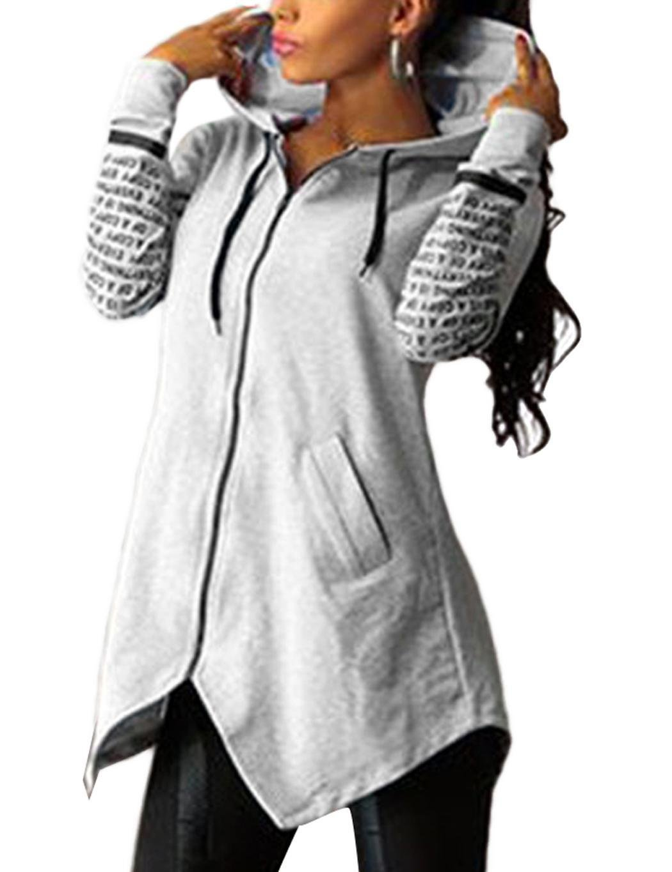 Fashine Fashion Women Hooded Letter Print Zip Up Asymmetrical Hem Sweatshirt Hoodie Hoodies