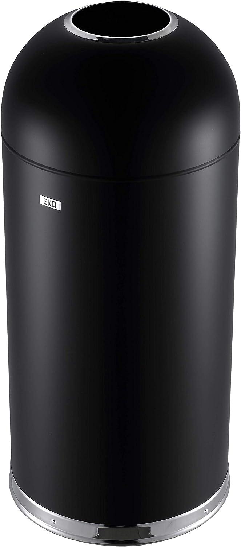EKO Bullet 56 Liter / 14.7 Gallon Commercial Trash Can, Black Powder-Coated Finish