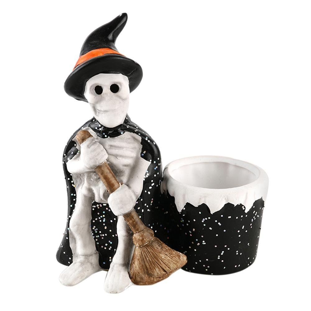 WinnerEco Candlestick Decoration, Resin Skull Wizard Ash Holder Halloween Candle Holder Skeleton Ashtray Tool