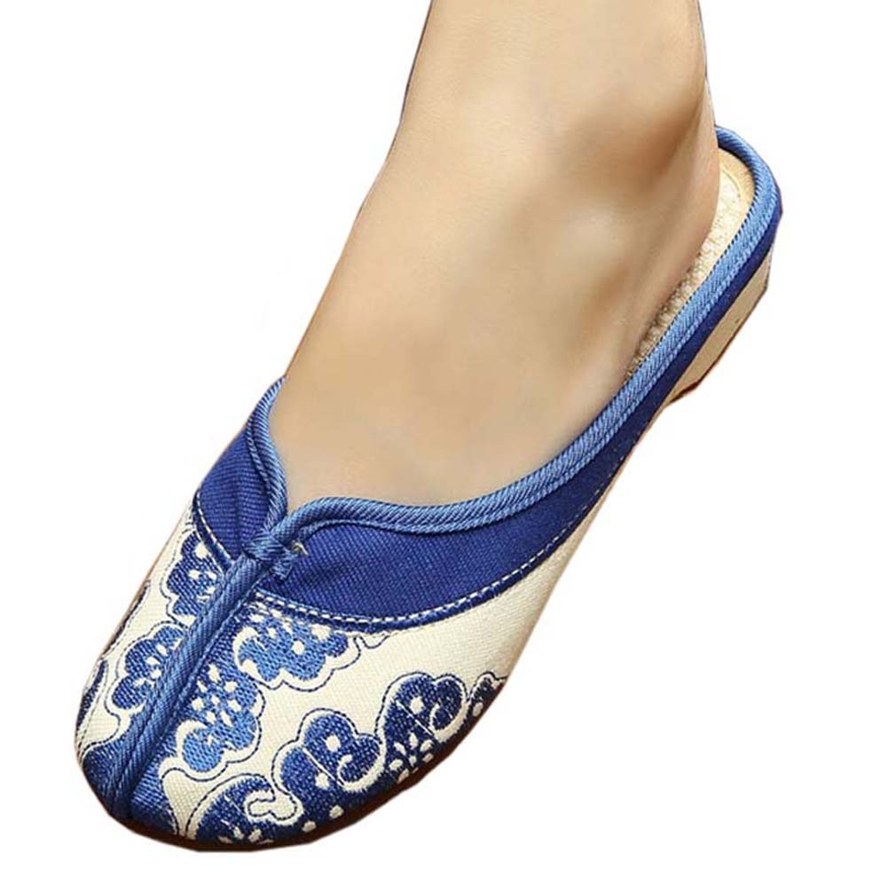 Womens Embroidered Summer Slippers Wedges Sandals Shoes for Cheongsam, 23