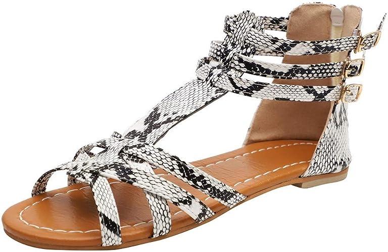 Femmes Sandales Été Classique Imprimé Léopard Plat Chaussures Sandales Femmes Grande Taille