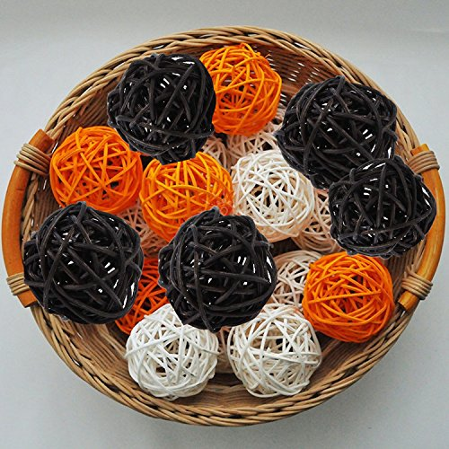 15PCS Mixed Orange Black White Decorative Wicker Rattan Ball Halloween Themed Party Centerpieces Wedding Birthday Home Ornament Kid Children Party Supply Parrots Toys -