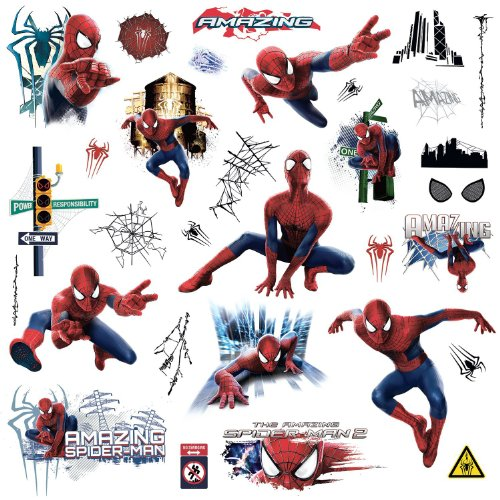 (Marvel Superhero Comic - Amazing Spider-Man Wall Decal - Pre-cut Peel and Stick Sticker Decor Party Decaration)