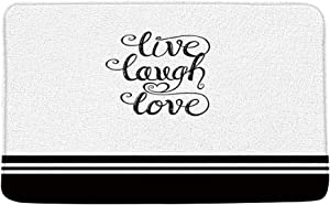 XZMAN Black and White Bath Mat Live Laugh Love Simple Inspirational Quotes Striped Farmhouse Bathroom Rug Decor,Bedroom Kitchen Toilet Rug,Soft Memory Foam Non Slip Backing,20x31 Inch